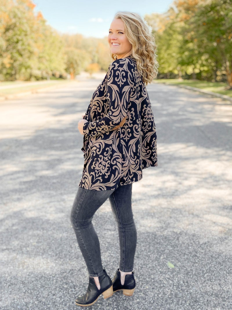 PLUS/REG Damask Print Open Cardigan with Elbow Patches