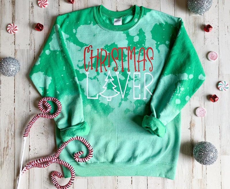 Christmas lover sweatshirt bleached