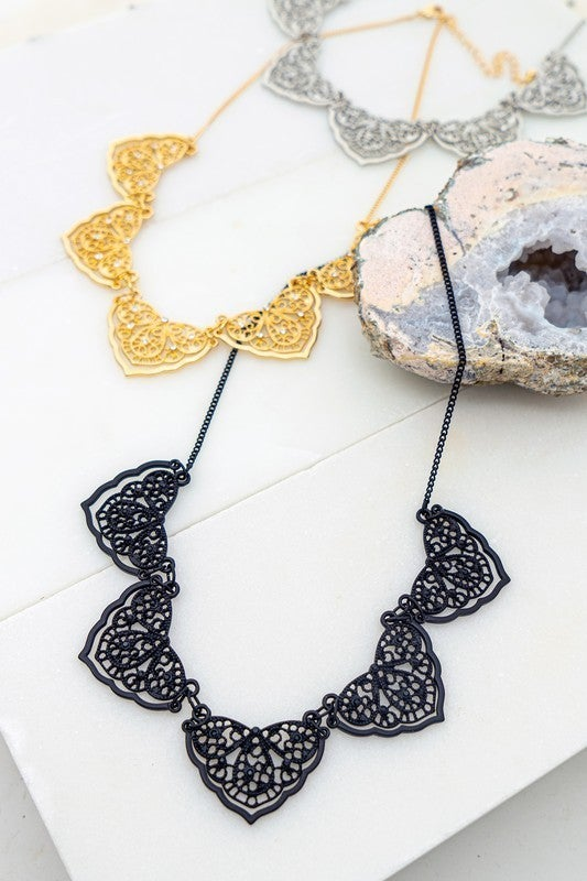 Filigree Statement Necklace with Rhinestones (Multiple Colors)