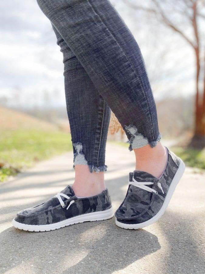 Hey Girl Grey Camo Casual Slip On Sneakers