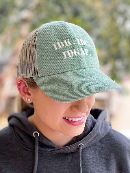 IDK IDC IDGAF Corduroy Trucker Hat