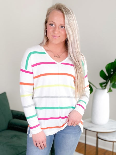 Multi Color Long Sleeve Striped V Neck Sweater