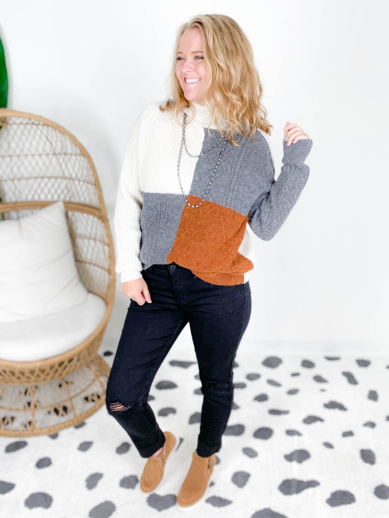 RESTOCK! Cable Knit Colorblock Turtle Neck Sweater