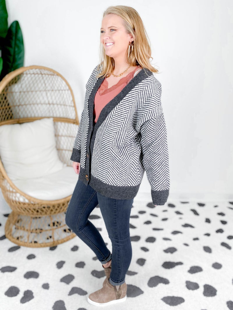 POL Grey Herringbone Button Down Sweater Cardigan