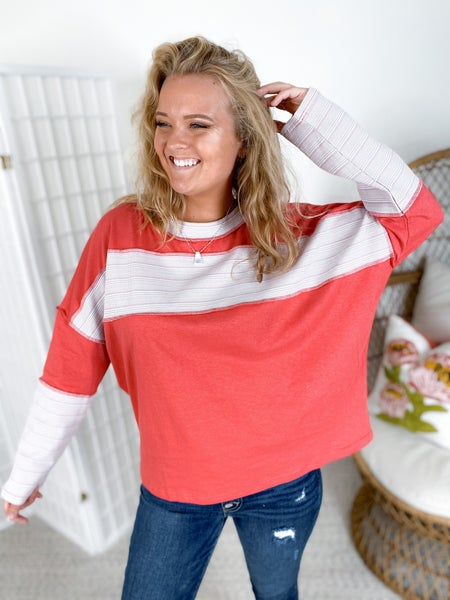 Long Sleeve Striped Rib Contrast Knit Top (Multiple Colors)