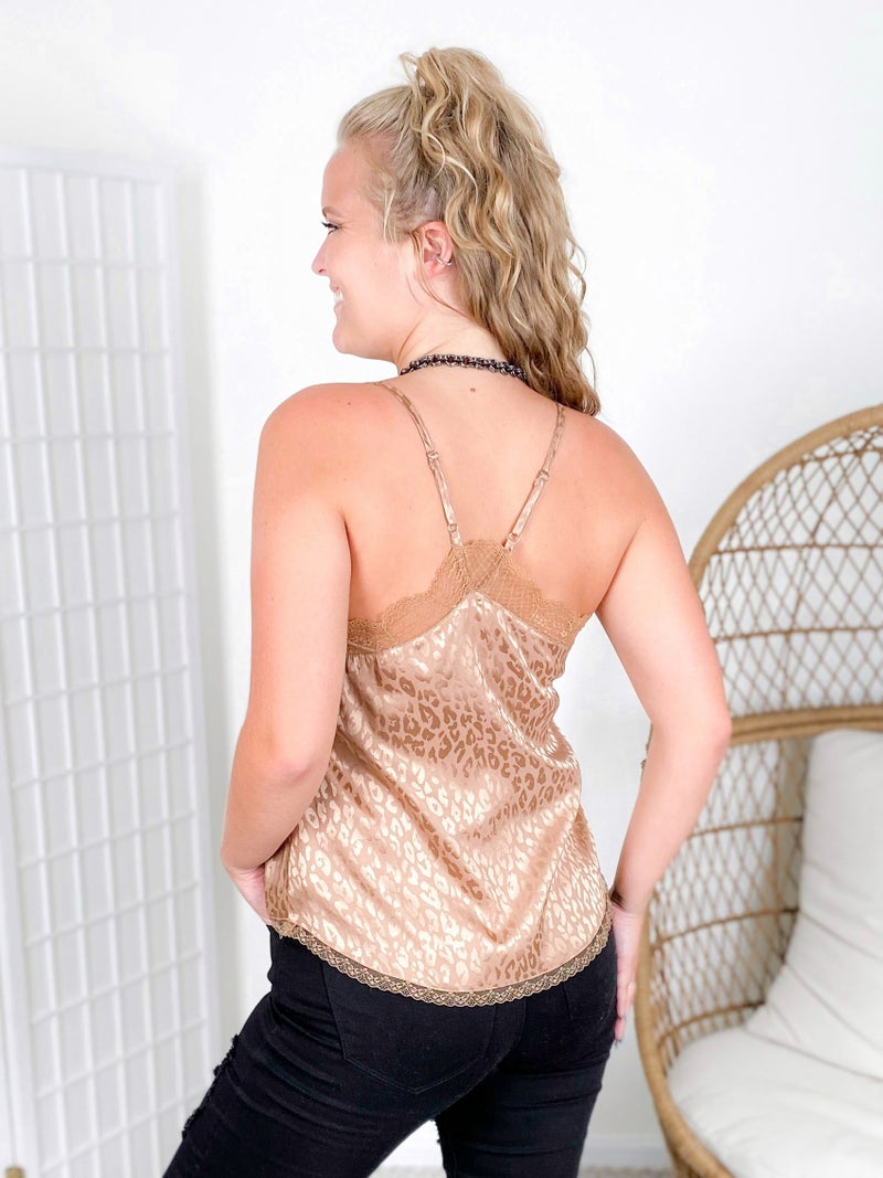 Silky Leopard Camisole with Lace Trim (Multiple Colors)