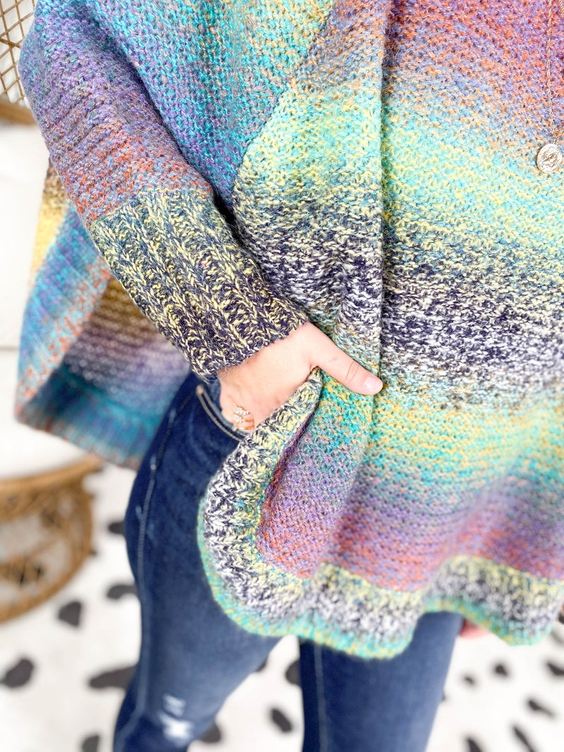 Jewel Tone Ombre Poncho Sweater Top