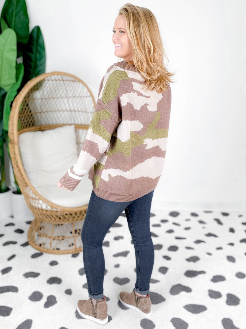 Brown Camo Sweater With Stripe Cuff Detail