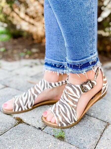 Blowfish Zebra Safari Micro Wedge Sandals