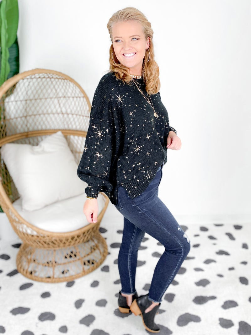 Gold Foil Starry Night Sweater