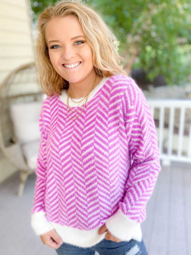 Fuzzy Chevron Zig Zag Sweater (Multiple Colors)