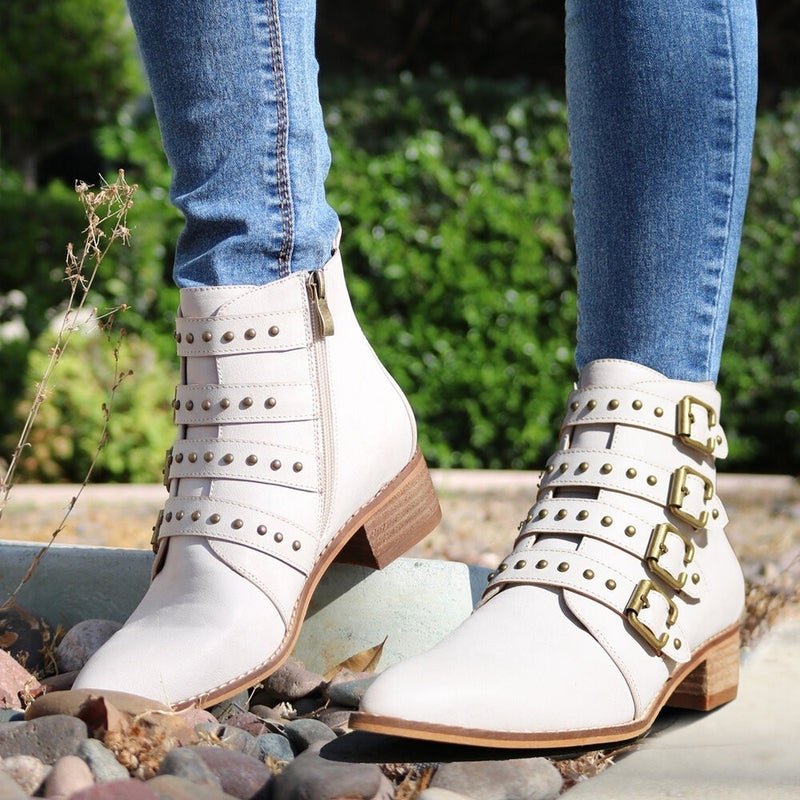 Beast Studded & Strappy Ice White Ankle Boot