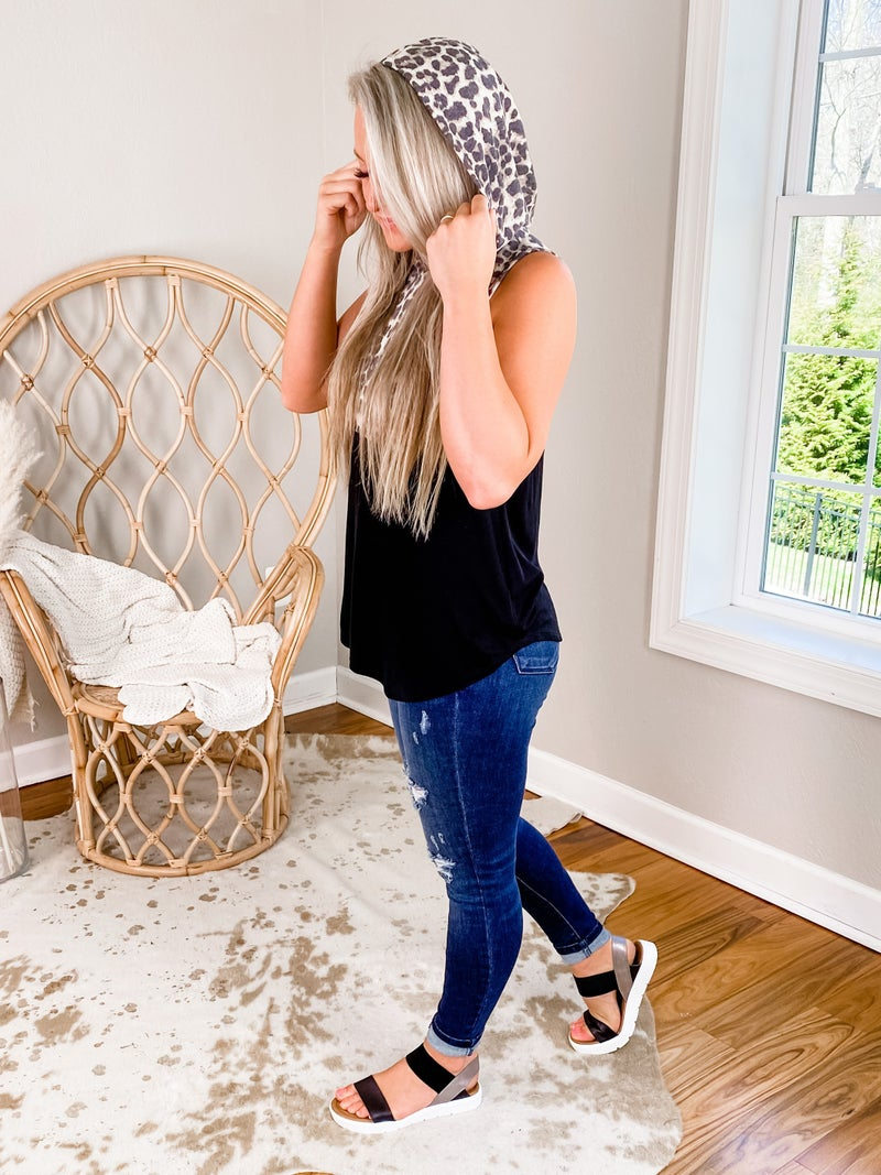 PLUS/REG Black and Leopard Tank Top With Hoodie