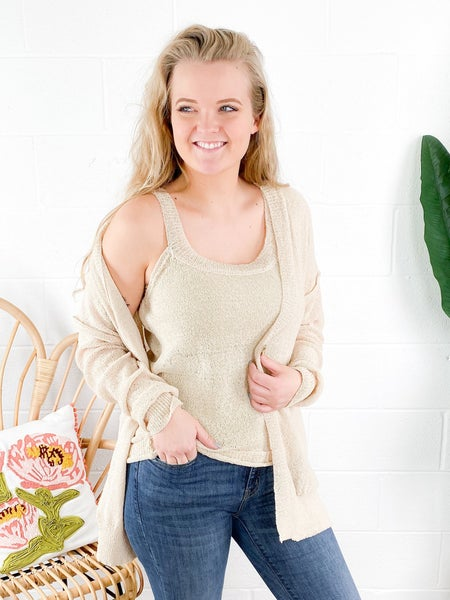 Lightweight Knit Tank Top and Cardigan Set (Multiple Colors)