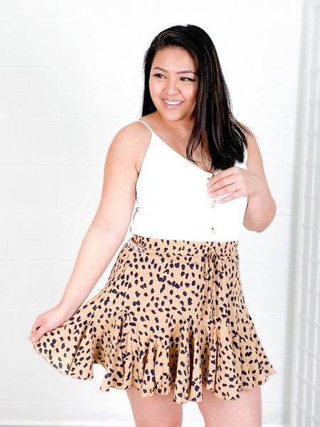 RESTOCK Ruffle White & Freckled Cheetah Print Romper