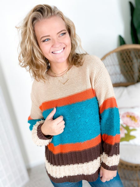 Mixed Knit Color Block Sweater (Multiple Colors)