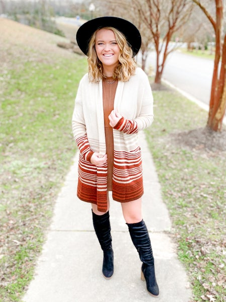 Oatmeal & Rust Long Sleeve Open Front Cardigan