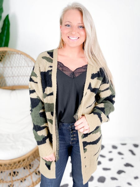 PLUS/REG Super Soft Camouflage Cardigan (Multiple Colors)