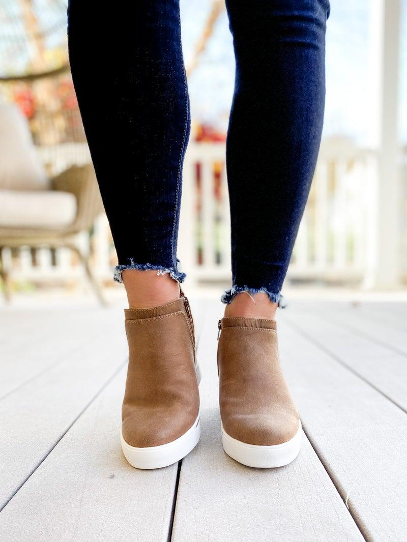 Glossy Honey Fab Suede Wedge Sneakers