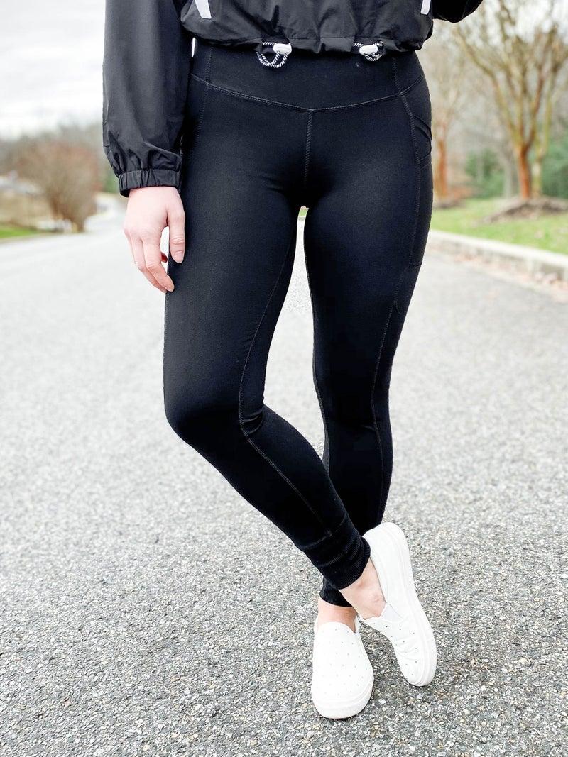 PLUS/REG Bottom Cuff Solid Leggings With Side Pockets