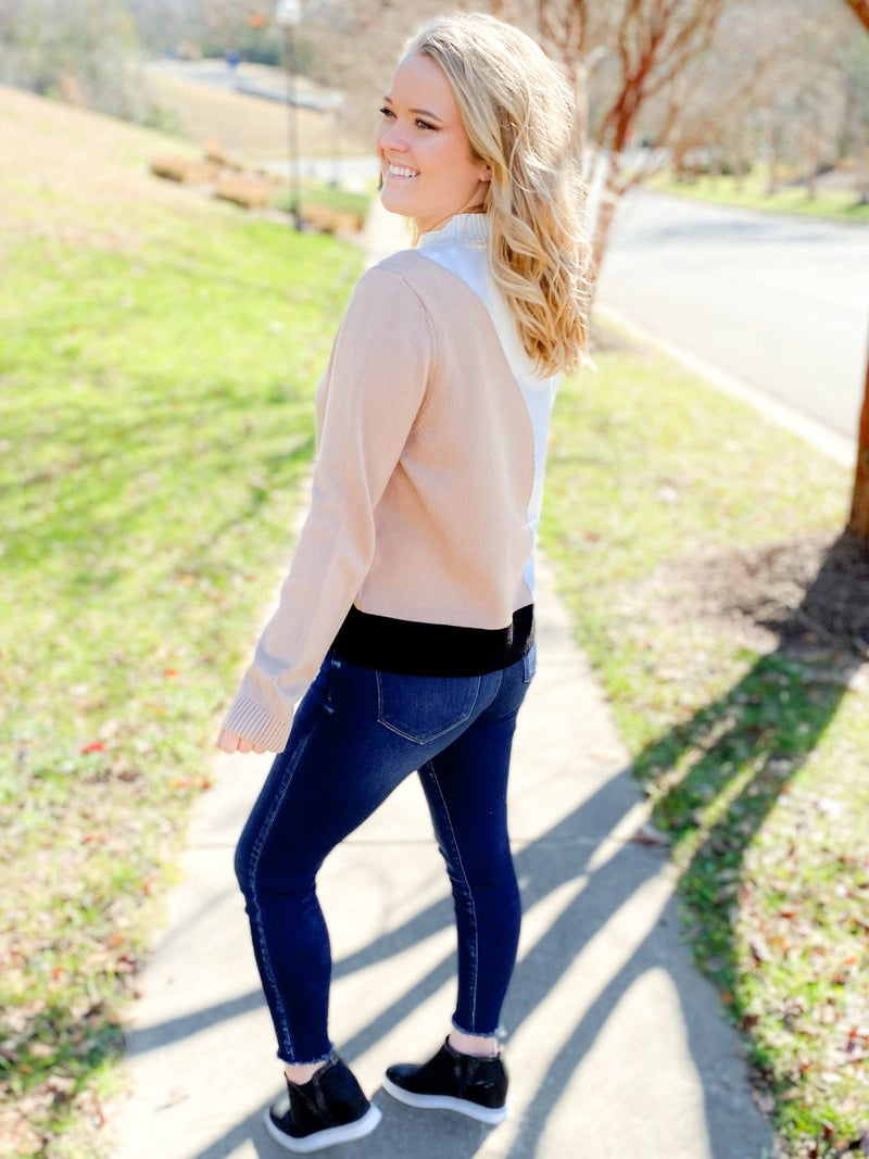 White & Taupe Color Block Sweater