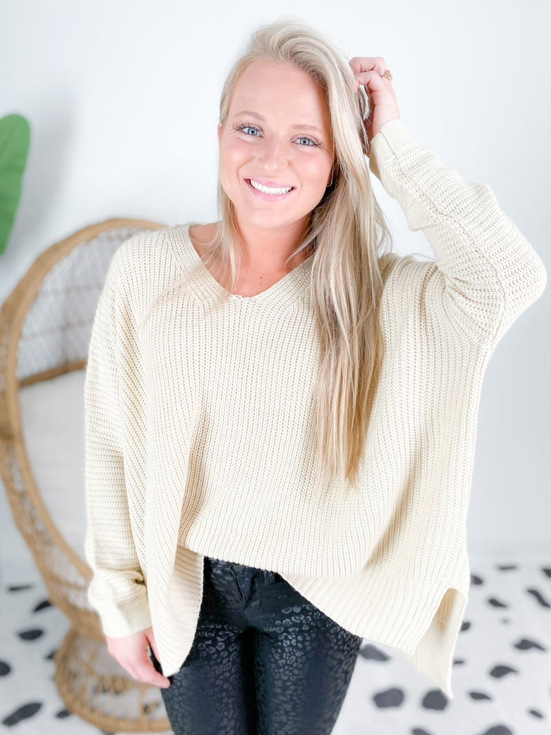 Loose Fit Sweater with Side Slit (Multiple Colors)