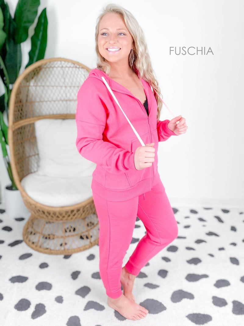 POPPY DAY Door Buster! PLUS/REG Zenana Fleece Zip Up Hoodie & Jogger Set (Multiple Colors)