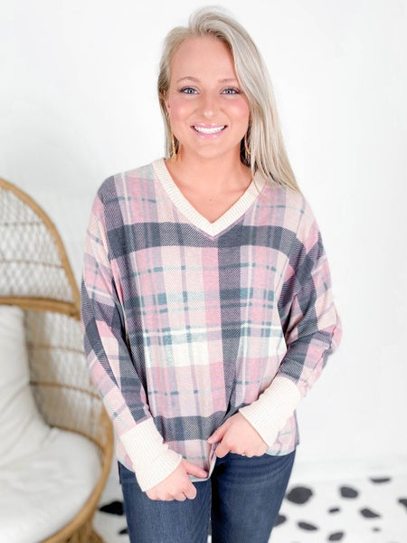 PLUS/REG Pink Plaid V Neck High Low Top