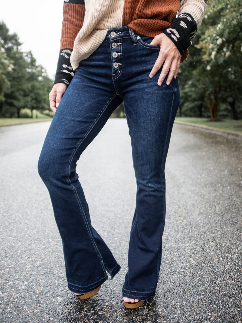 KanCan Good Vibrations Mid Rise Button Fly Flare Jeans