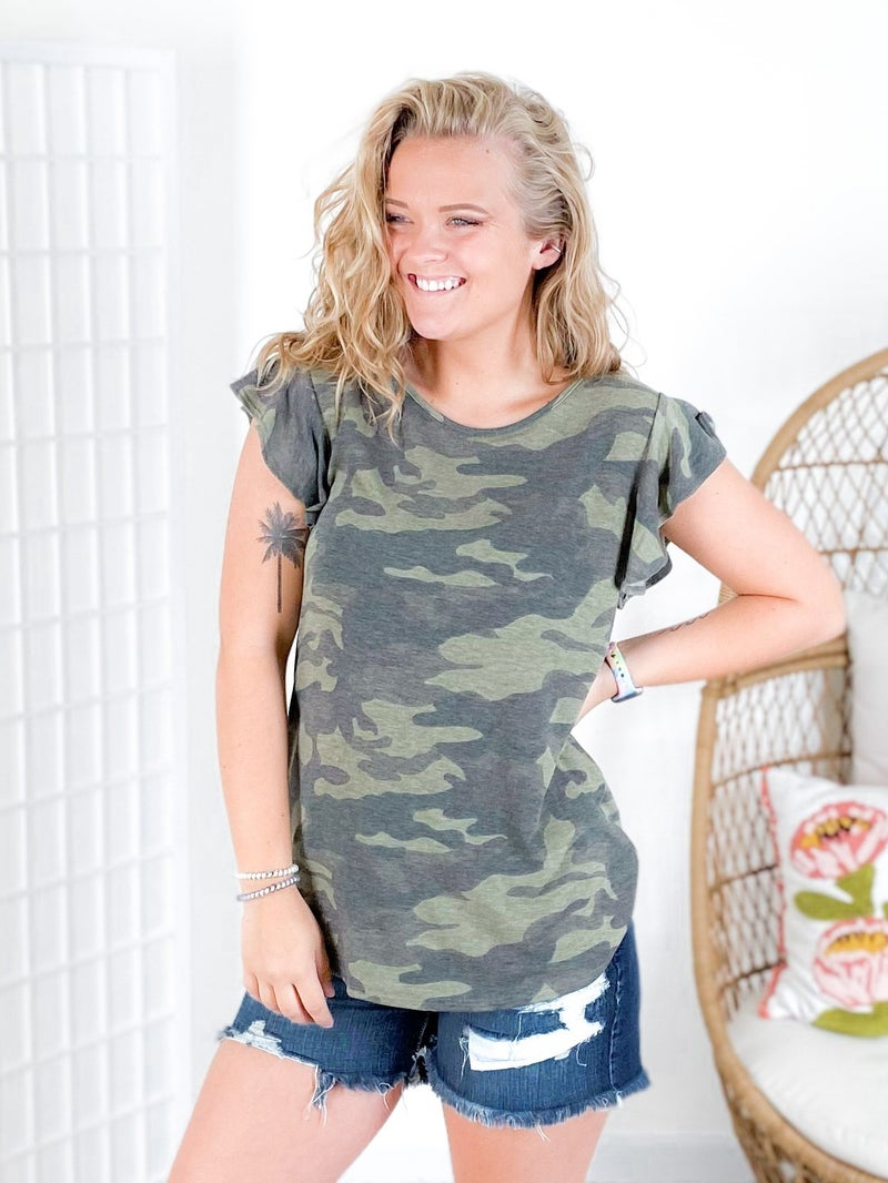 French Terry Camo Top with Ruffle Sleeves