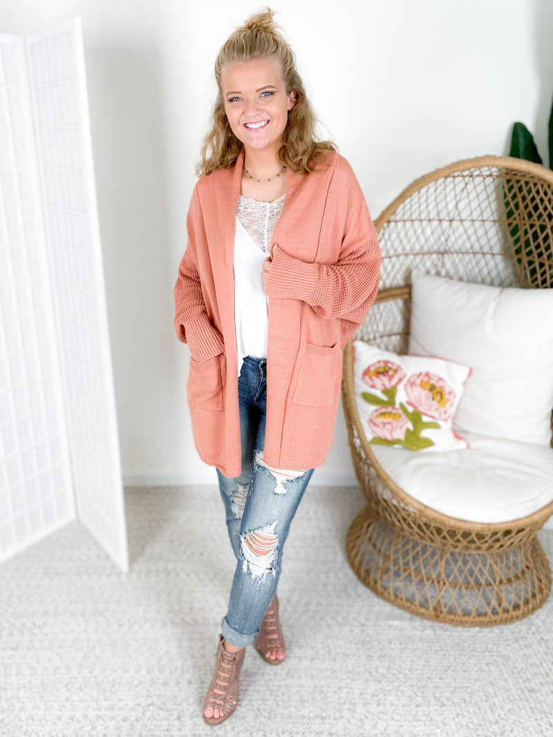 Soft Touch Waffle Knit Open Cardigan (Multiple Colors)