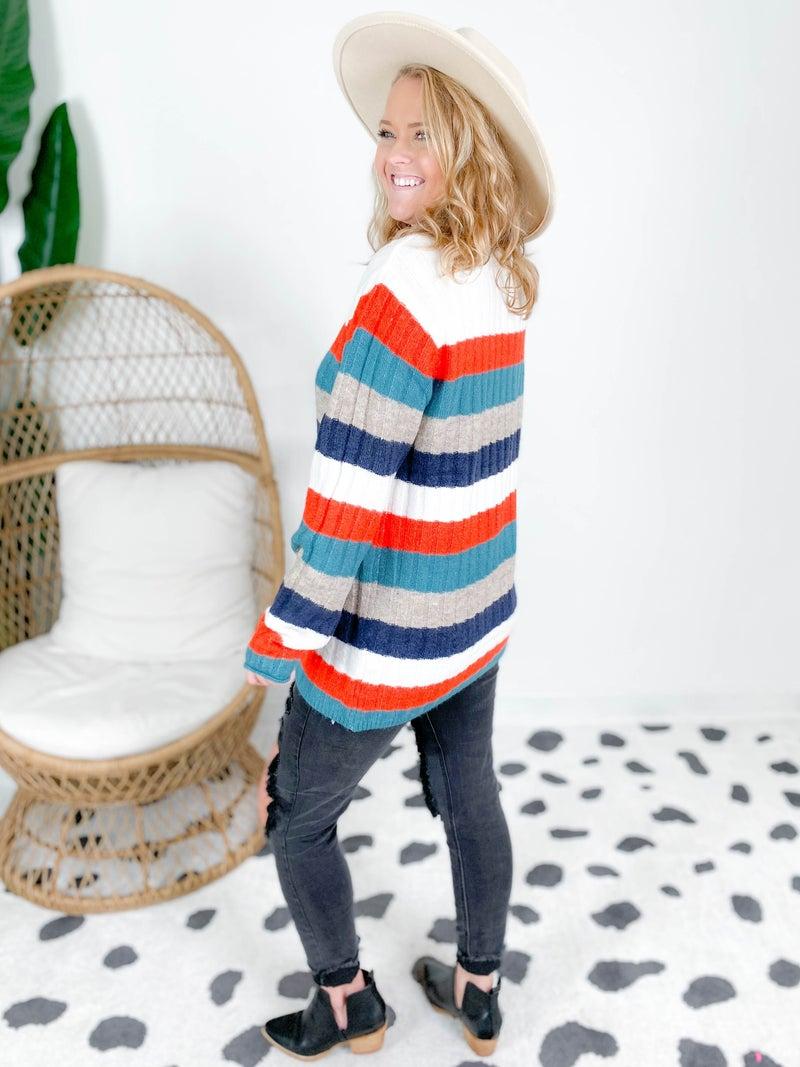 Mock Neck Soft Ribbed Stripe Sweater