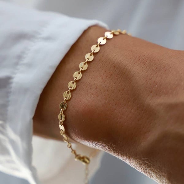 Gold Filled Round Textured Disc Adjustable Bracelet (Multiple Colors)