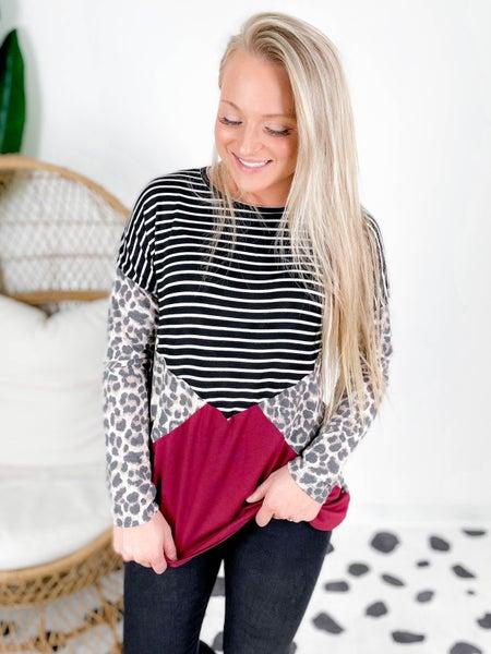 PLUS/REG Diagonal Colorblock Leopard Stripe Top
