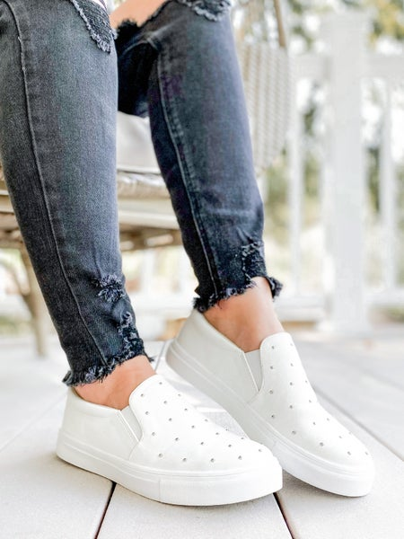 RESTOCK! Super Cushioned Insole Slip on White Studded Canvas Shoes