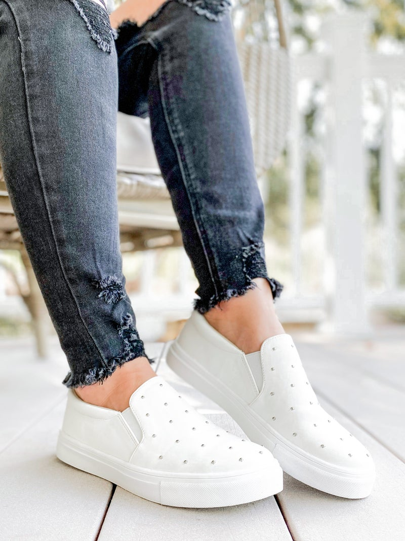 Super Cushioned Insole Slip on White Studded Canvas Shoes