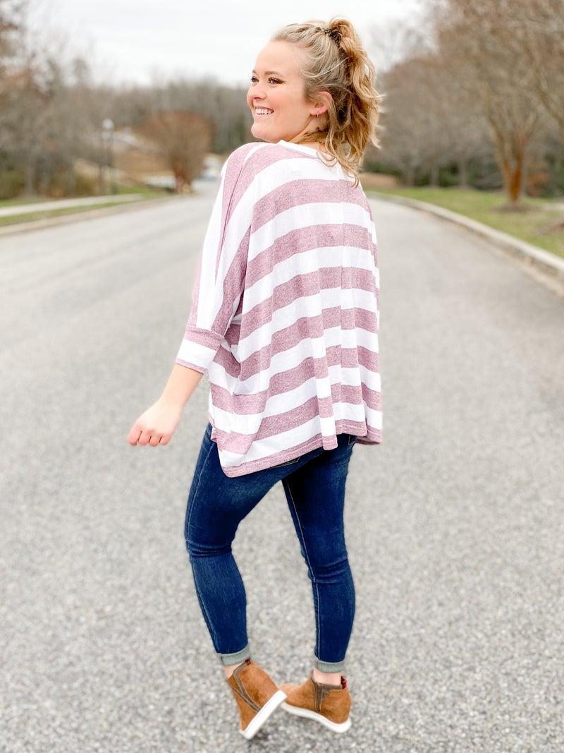 RESTOCK!! Soft Bold Stripe Dolman Sleeve Top (Multiple Colors)