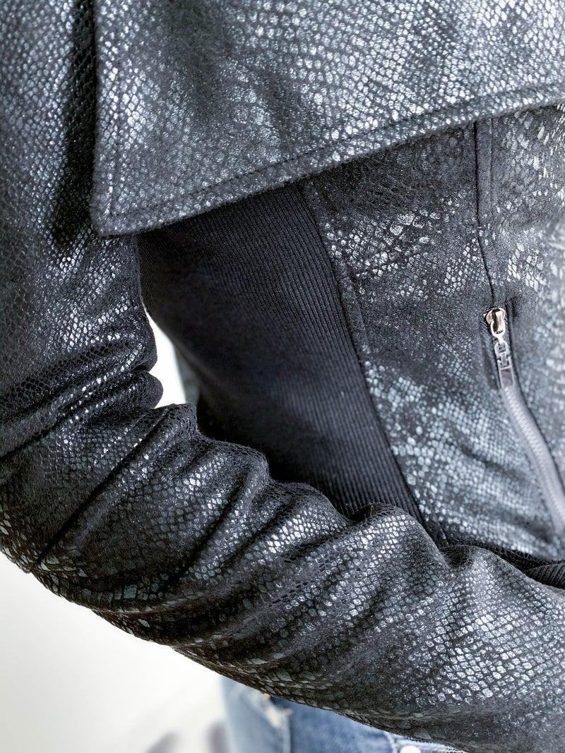 RESTOCK! Black Snake Skin Pleather Moto Jacket
