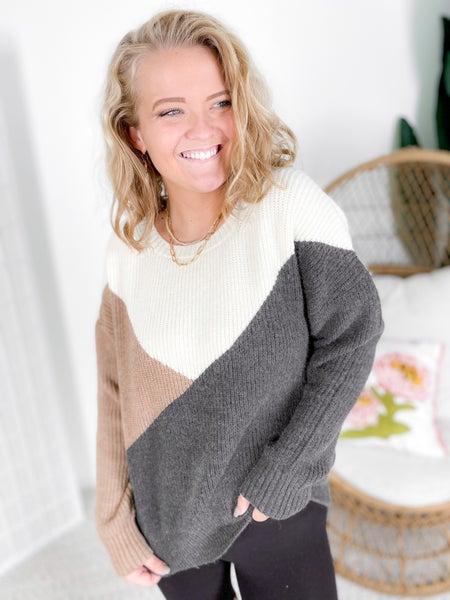 Diagonal Color Block Sweater (Multiple Colors)