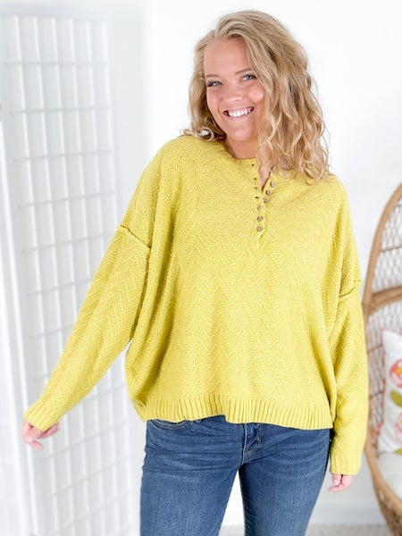 Chevron Knit Sweater with Button Detail at Neckline (Multiple Colors)