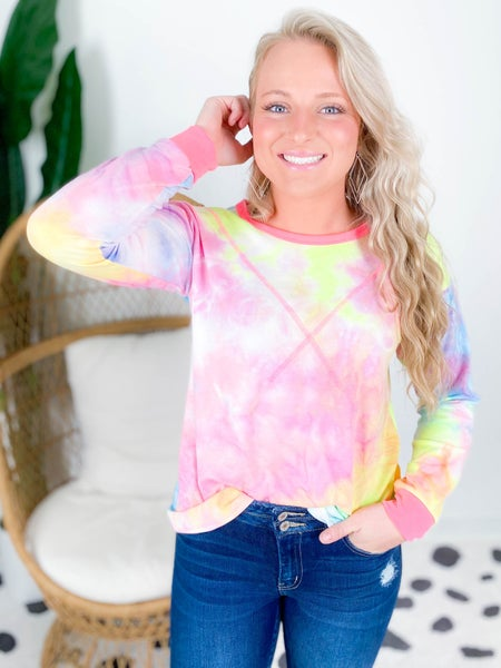 PLUS/REG Lime Tie Dye Top With Hot Pink Trim