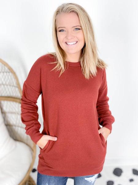 Doorbuster! Zenana Crew Neck Sweatshirt with Pockets (Multiple Colors)