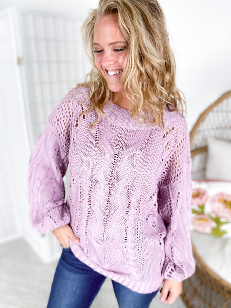 Pointelle Cable Knit Sweater (Multiple Colors)