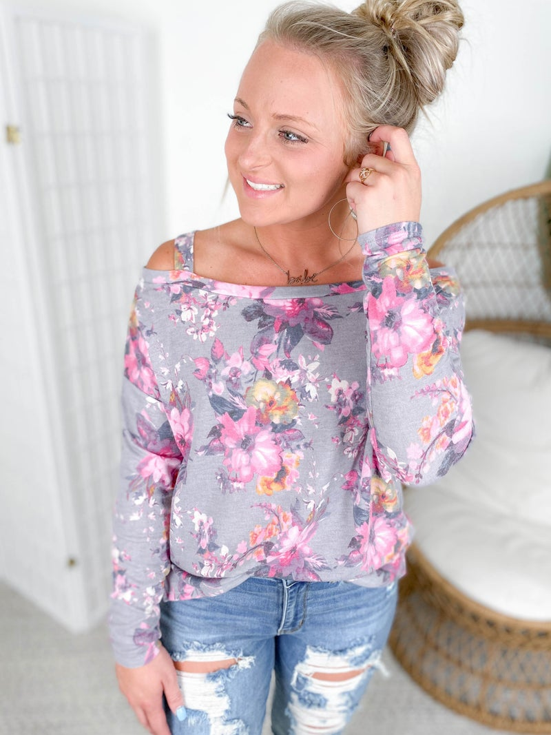 PLUS/REG Honeyme Pink & Violet Floral Cold Shoulder Top
