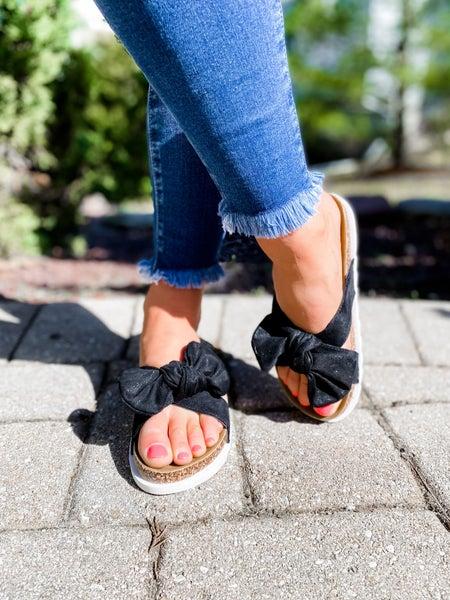 Black Platform Sandals With Bow Detail