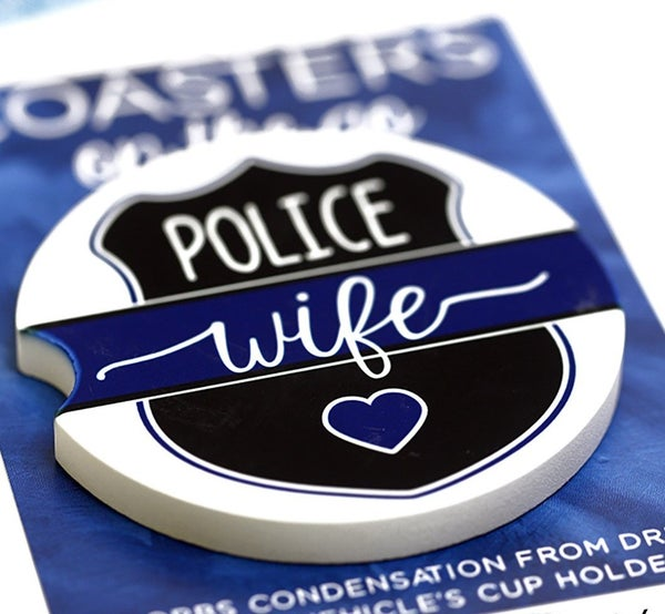 Back the Blue AND Police Wife Car Coaster (Set of 2)