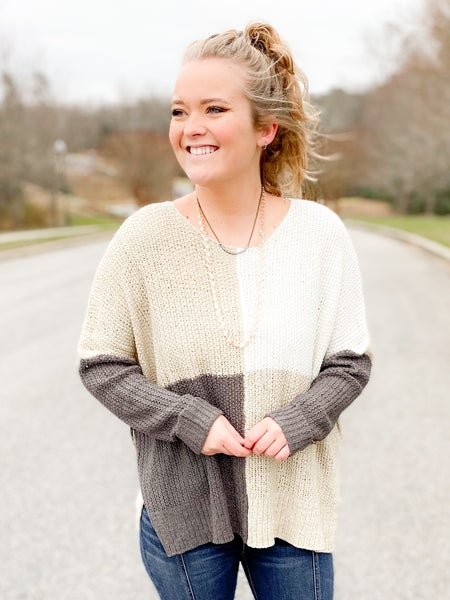 Color Block Boxy Sweater Knit Top (Multiple Colors)