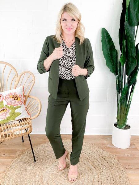 PLUS/REG Olive Cropped Slim Fit Pants
