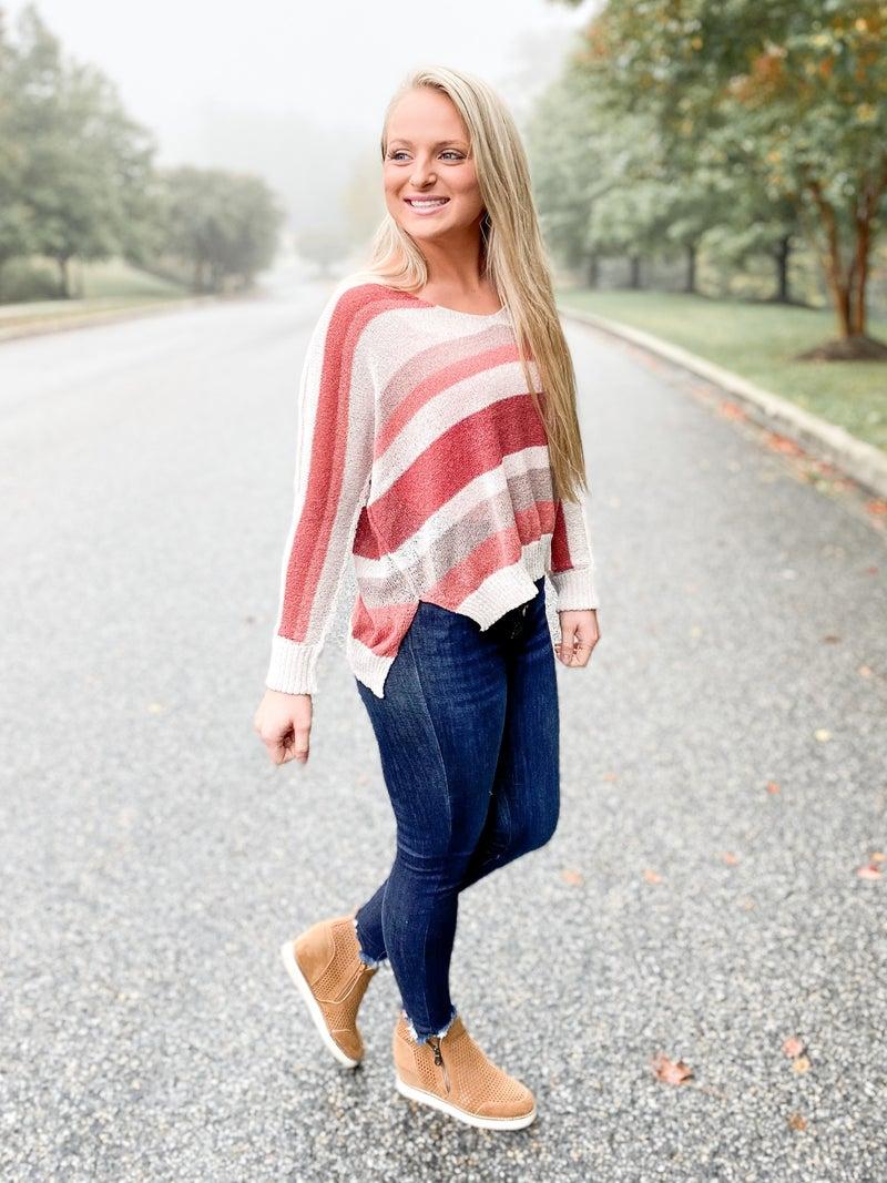 Lightweight Brick & Ivory Stripe V Neck Sweater