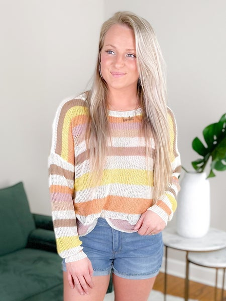 Long Sleeve Round Neck Open Knit Sweater (Multiple Colors)